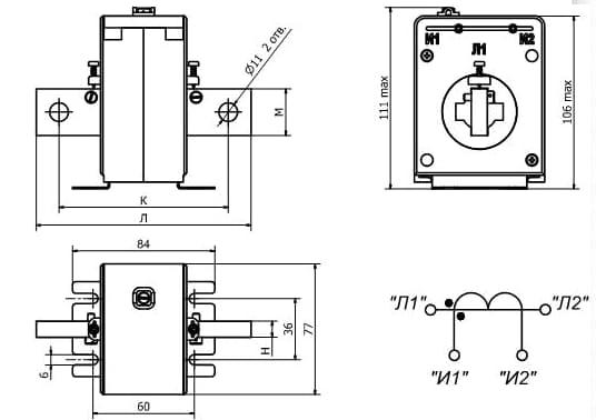 Схема трансформатора тока Т