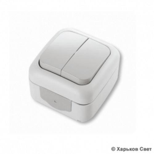 Фото Выключатель 2-клавишный влагозащитный (Vi-ko) серый Электробаза
