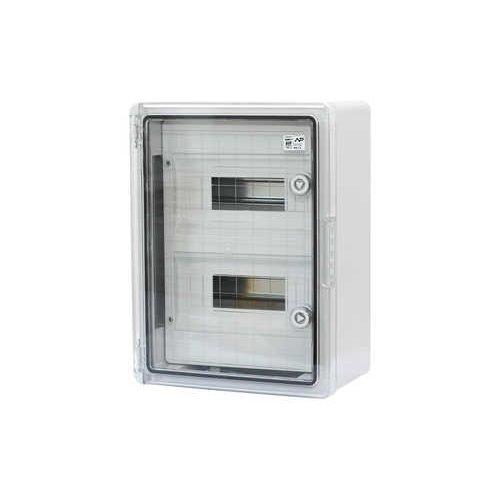Фото Шафа удароміцна модульна ABS 250х350х150, 8х2 модулів, з прозорими дверцятами IP65