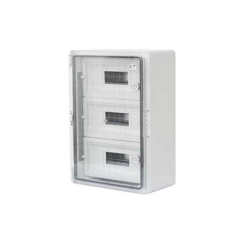 Фото Шафа удароміцна модульна ABS 350x500x190, 12х3 модулів, з прозорими дверцятами, IP65