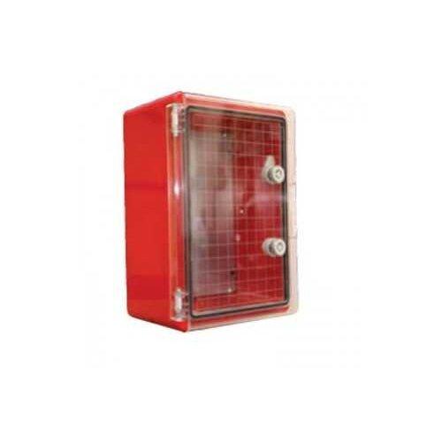 Фото Шафа удароміцна червона ABS 300X400X220, МП, з прозорими дверцятами, IP65