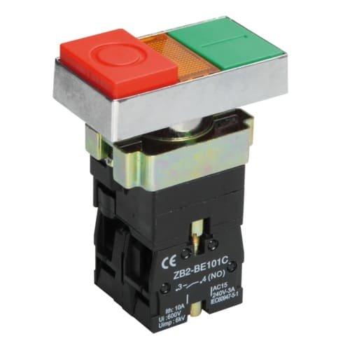 Фото Двойная кнопка NP8-11SD 1НВ+1НЗ червона AC110В-220В(LED) IP65 Электробаза