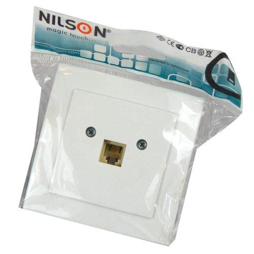 Фото Телефонная розетка RJ11 (Nilson Plus) белая Электробаза