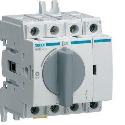 Вимикач навантаження модульний до 16мм2, 4п 20А Hager