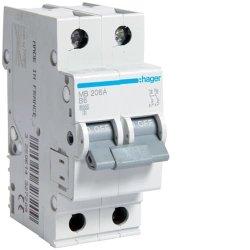 Автоматичний вимикач 2P 6kA B-6A 2M Hager