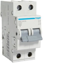 Автоматичний вимикач 2P 6kA B-40A 2M Hager