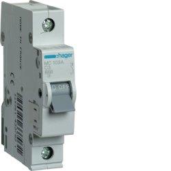 Автоматичний вимикач 1P 6kA C-3A 1M Hager