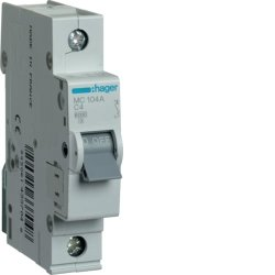 Автоматичний вимикач 1P 6kA C-4A 1M Hager