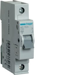 Автоматичний вимикач 1P 6kA C-10A 1M Hager