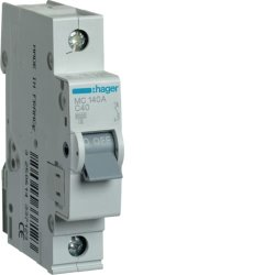Автоматичний вимикач 1P 6kA C-40A 1M Hager