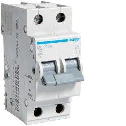 Автоматичний вимикач 2P 6kA C-2A 2M Hager