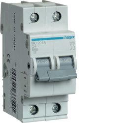 Автоматичний вимикач 2P 6kA C-4A 2M Hager