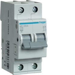 Автоматичний вимикач 2P 6kA C-10A 2M Hager