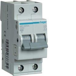 Автоматичний вимикач 2P 6kA C-20A 2M Hager