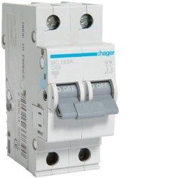 Автоматичний вимикач 2P 6kA C-63A 2M Hager