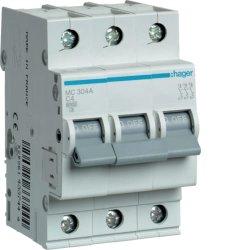 Автоматичний вимикач 3P 6kA C-4A 3M Hager