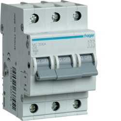 Автоматичний вимикач 3P 6kA C-6A 3M Hager