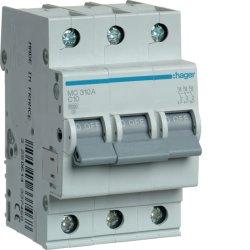 Автоматичний вимикач 3P 6kA C-10A 3M Hager