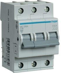 Автоматичний вимикач 3P 6kA C-16A 3M Hager