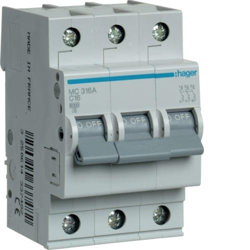 Фото Автоматичний вимикач 3P 6kA C-16A 3M Hager Электробаза