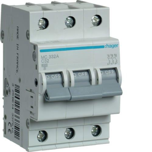 Фото Автоматичний вимикач 3P 6kA C-32A 3M Hager Электробаза