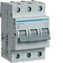 Автоматичний вимикач 3P 6kA C-50A 3M Hager