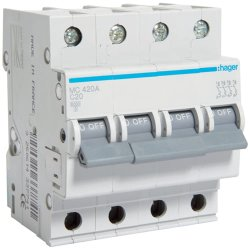 Автоматичний вимикач 4P 6kA C-20A 4M Hager
