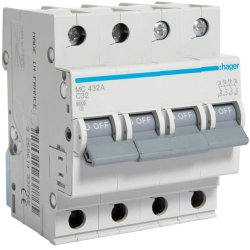 Автоматичний вимикач 4P 6kA C-32A 4M Hager
