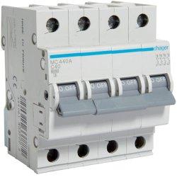 Автоматичний вимикач 4P 6kA C-40A Hager