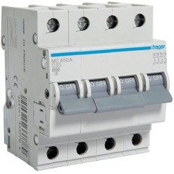 Автоматичний вимикач 4P 6kA C-50A 4M Hager