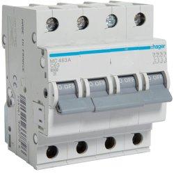 Автоматичний вимикач 4P 6kA C-63A Hager