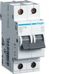 Автоматичний вимикач 1P+N 6kA C-16A 2M Hager