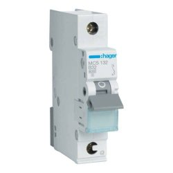 Автоматичний вимикач QC 1P 6kA C-32A 1M Hager