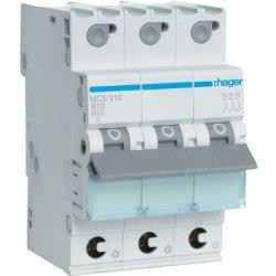 Автоматичний вимикач QC 3P 6kA C-10A 3M Hager