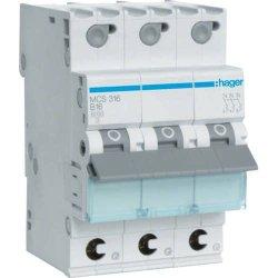 Автоматичний вимикач QC 3P 6kA C-16A 3M Hager