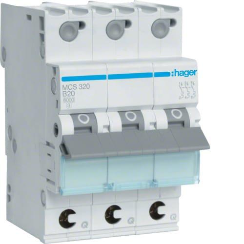 Фото Автоматичний вимикач QC 3P 6kA C-20A 3M Hager Электробаза