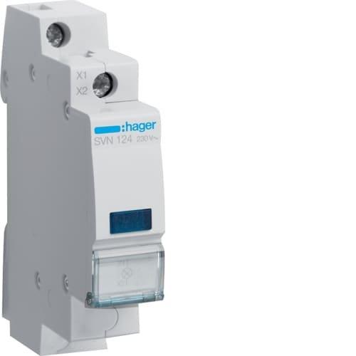 Фото Індикатор LED 230В, синій Hager Электробаза
