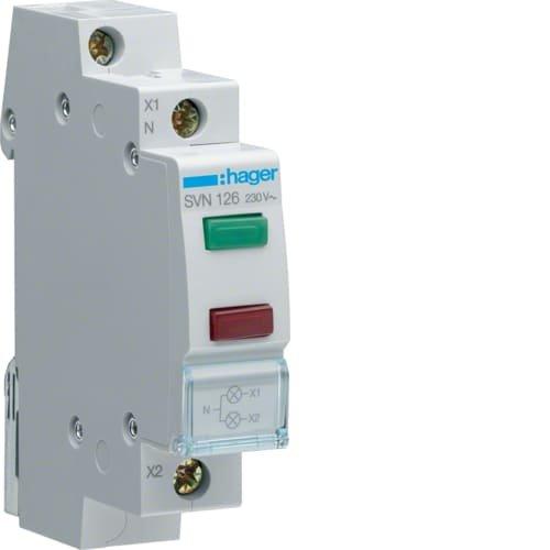 Фото Індикатор подвійний LED, 230В, зелений і червоний Hager Электробаза
