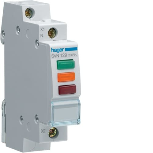 Фото Індикатор потрійний LED, 230В, червоний-зелений-помаранчовий Hager Электробаза
