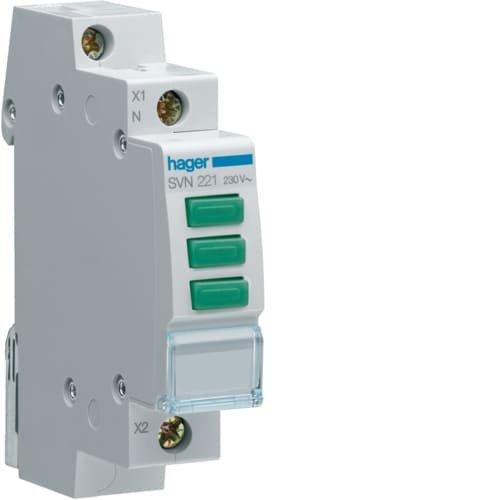 Фото Індикатор потрійний LED, 230В, 3 зелених Hager Электробаза