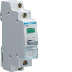 Вимикач кнопковий зворотній з зеленим індикатором 230В/16А, 1НВ Hager