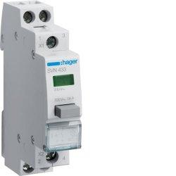 Вимикач кнопковий з зеленим індикатором 230В/16А, 2НВ Hager