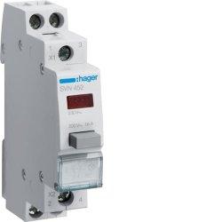 Вимикач кнопковий зворотній з червоним індикатором 230В/16А, 1НВ+1НЗ Hager
