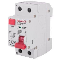 Вимикач диференційного струму з захистом від надструмів e.rcbo.stand.2.C06.30, 1P+N, 6А, С, 30мА