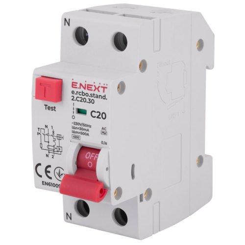 Фото Вимикач диференційного струму з захистом від надструмів e.rcbo.stand.2.C20.30, 1P+N, 20А, С, 30мА Электробаза