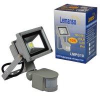 Прожектор светодиодный с датчиком движения LED 10w 6500K IP65 LEMANSO LMPS10
