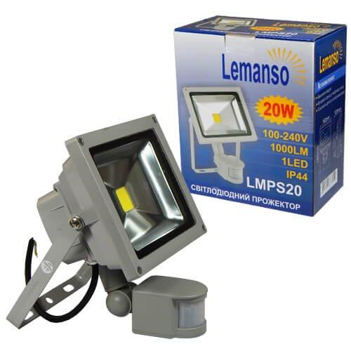 Фото Прожектор светодиодный с датчиком движения LED 20w 6500K IP65 LEMANSO LMPS20 Электробаза