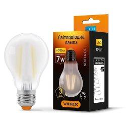 Лампа LED  VIDEX Filament A60FMD 7W E27 4100K 220V димерна