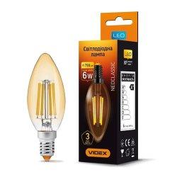 Лампа LED  VIDEX Filament C37FA 6W E14 2200K 220V