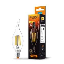 Лампа LED  VIDEX Filament C37Ft 6W E14 4100K 220V